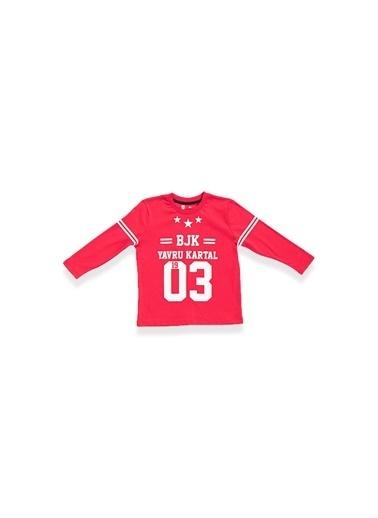 Beşiktaş Beşiktaş Lisanslı Çocuk Uzun Kol T-Shirt Kırmızı Kırmızı